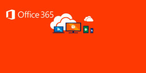 Office 365 logo with orange background showing Outlook, powerpoint, excel and word icons.